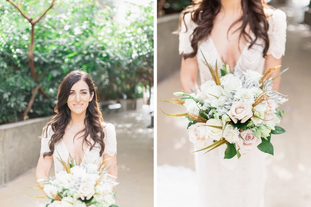 Florida Bride Beauty Wedding Portrait Holding Garden Inspired Blush Pink and Ivory Roses, Yellow and Green Leaves and Dusty Miller Floral Bridal Bouquet   Tampa Bay Wedding Hair and Makeup Femme Akoi