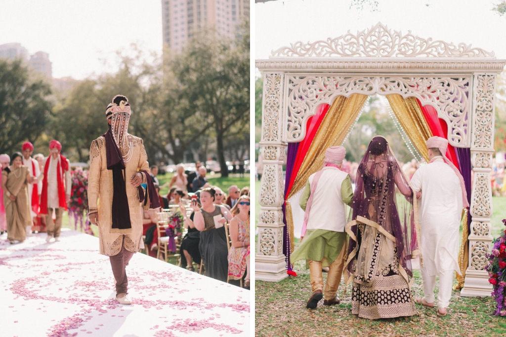 Traditional Indian, Hindu Groom in Black and Gold Sherwani and Turban Processional Wedding Portrait, Bride Walking into Wedding Ceremony | St. Pete Wedding Venue North Straub Park