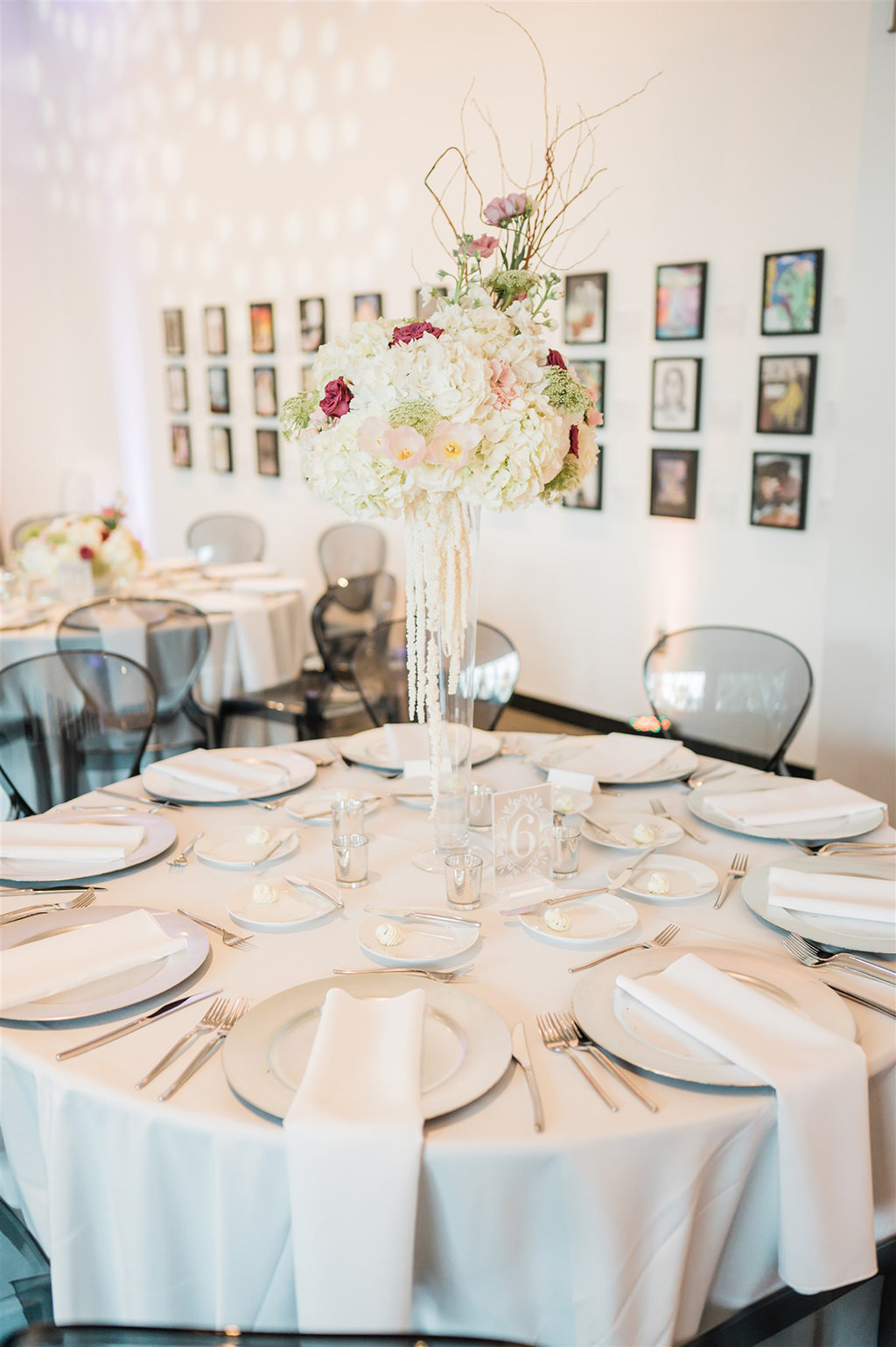 Downtown St. Pete Ivory and Blush Wedding Reception at Salvador Dali Museum | St. Pete Wedding Planner and Florist John Campbell Weddings | Catering by Olympia Catering