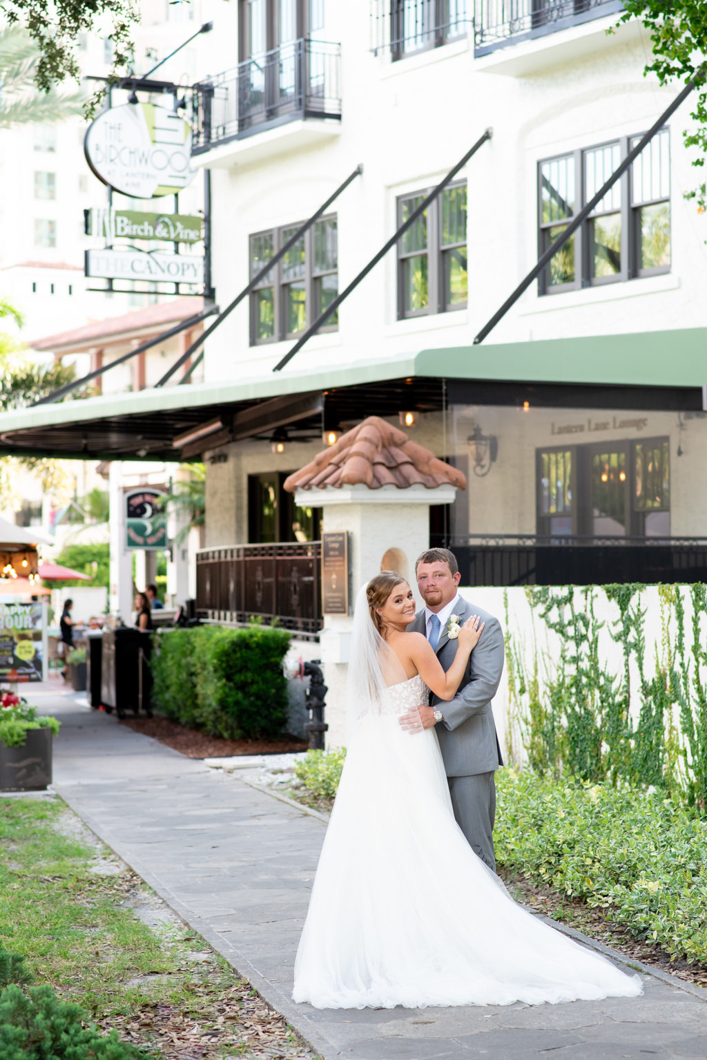 Florida Bride and Groom Outside Downtown St. Pete Modern Hotel and Wedding Venue The Birchwood