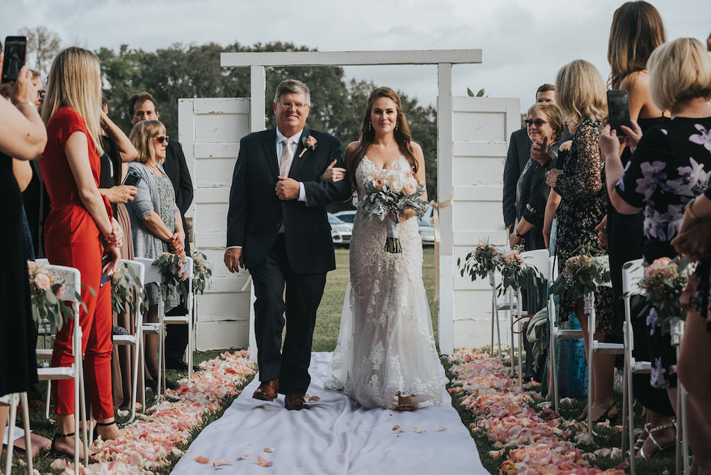 Florida Bride Walking Down the Aisle with Father Rustic Wedding Ceremony Portrait   Wedding Planner Kelly Kennedy Weddings and Events