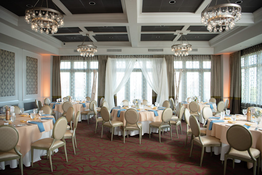Elegant, Modern Wedding Decor and Reception, Dusty Blue Napkins, Rose Round Table Linens, Gold Accents   Downtown St. Pete Boutique Hotel and Wedding Venue The Birchwood   Tampa Bay Wedding Planner Coastal Coordinating