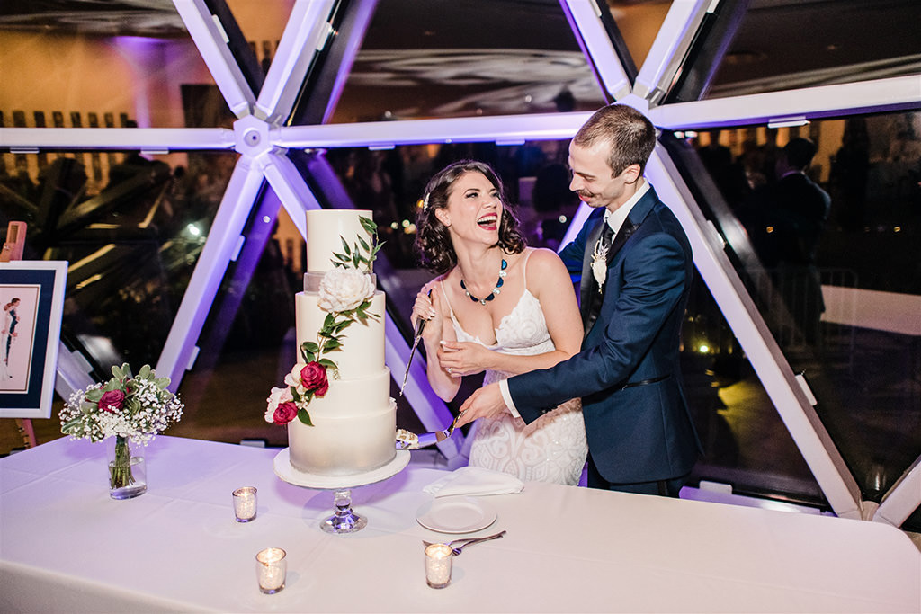 Bride and Groom Wedding Cake Cutting Portrait | St. Pete Wedding Cake Bakery The Artistic Whisk
