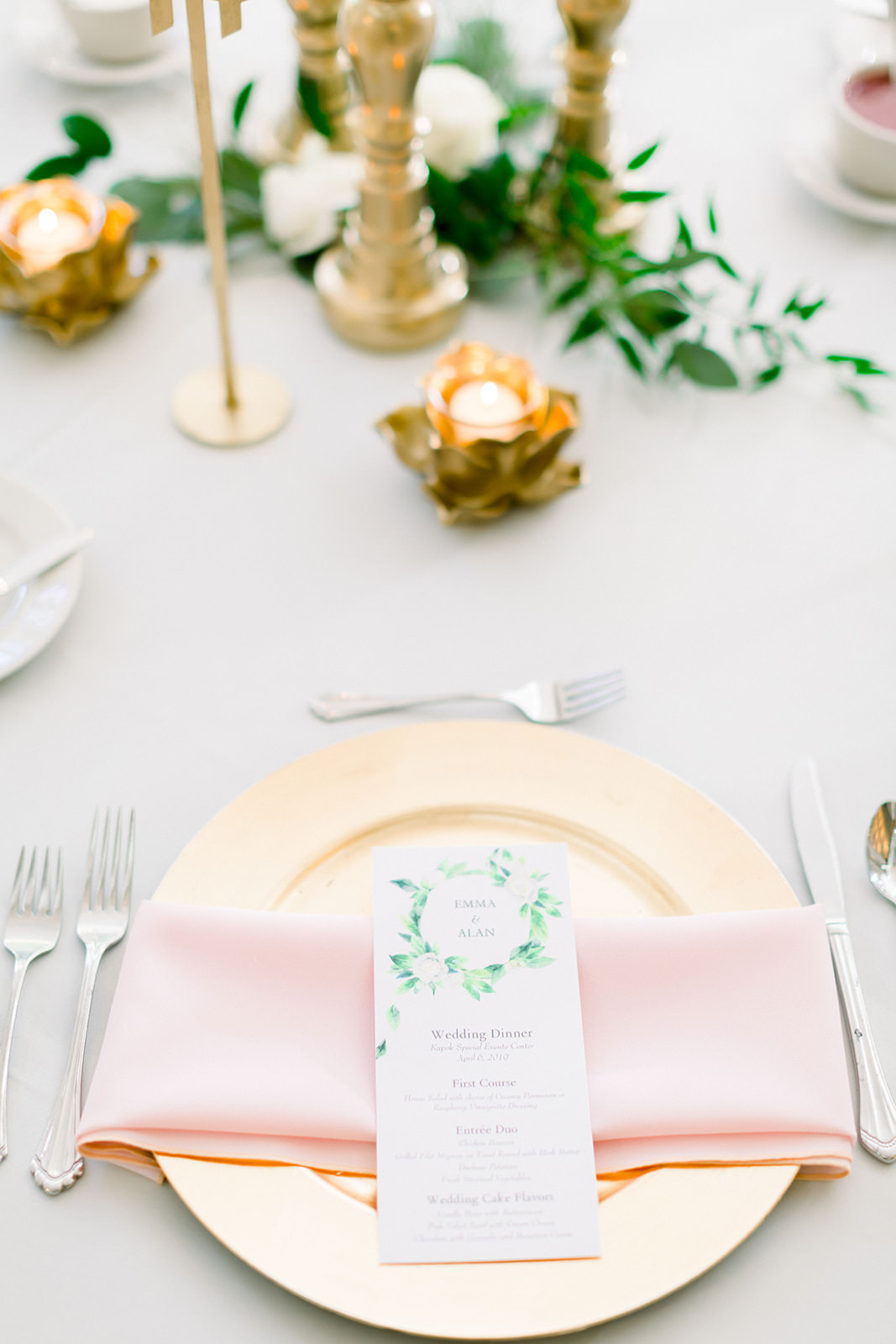 Classic, Elegant Wedding Reception Decor | Gold Charger Plates with Blush Pink Linens, Boho Inspired Floral Menu | Tampa Bay Wedding Photographers Shauna and Jordon Photography