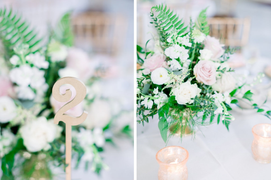 Elegant Blush Pink and White Wedding Reception Decor, Low Centerpieces, Gold Table Number | Tampa Bay Wedding Photographers Shauna and Jordon Photography