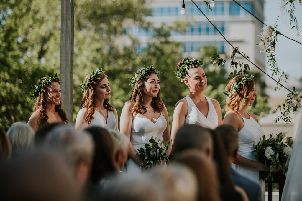 Tampa Bridesmaids Wedding Ceremony Portrait in Mix and Match White Dresses and Greenery Floral Crowns
