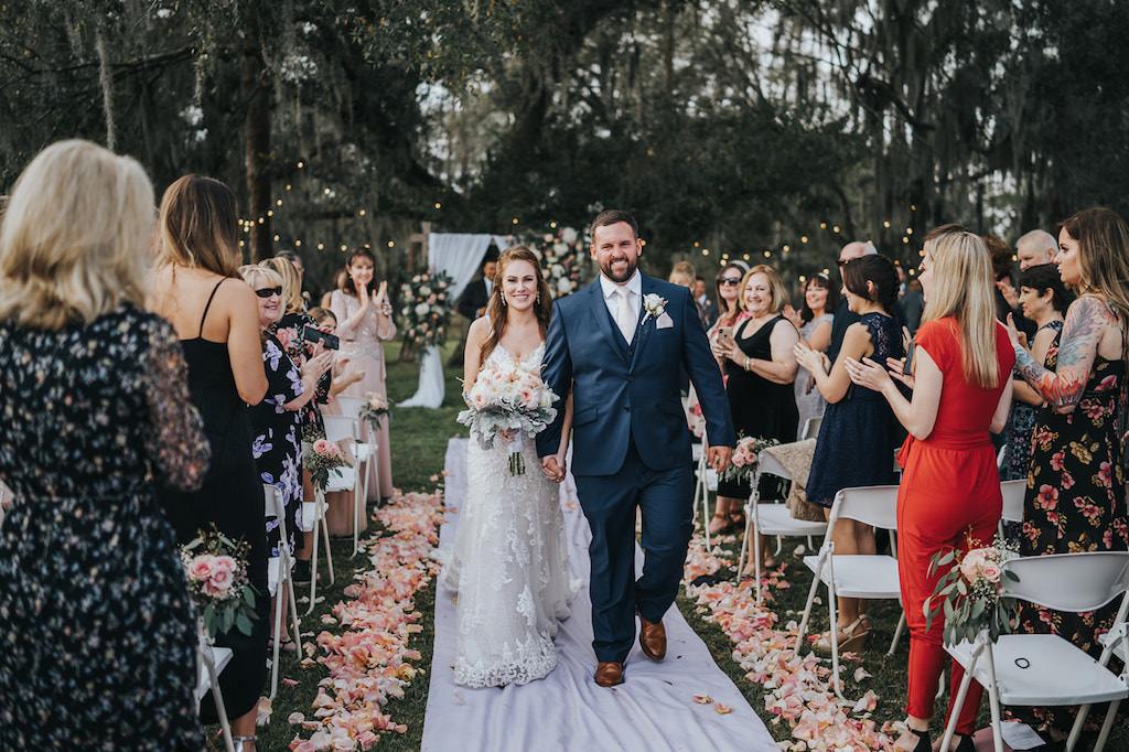 Florida Bride and Groom Wedding Ceremony Exit Recessional Portrait   Rustic Tampa Wedding Venue Rafter J Ranch