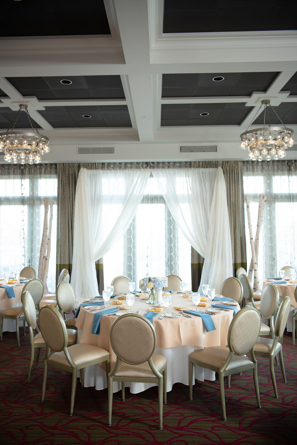 Elegant, Modern Wedding Decor and Reception, Dusty Blue Napkins, Rose Round Table Linens, Gold Accents   Downtown St. Pete Boutique Hotel and Wedding Venue The Birchwood   Wedding Planner Coastal Coordinating