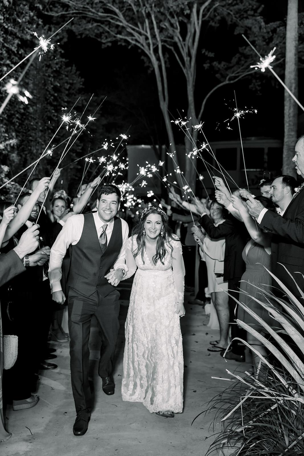 Boho Inspired Florida Bride and Groom Black and White Wedding Sparkler Exit Portrait | Tampa Bay Wedding Photographers Shauna and Jordon Photography
