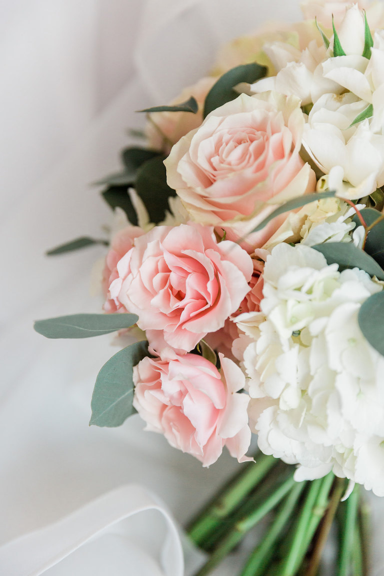 Pastel Pink, White Hydrangeas, Greenery Bridal Floral Bouquet