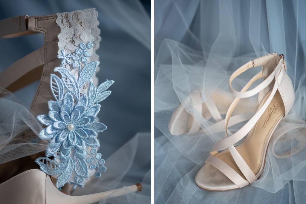 Classic Lace Bridal Garter with Baby Blue Floral Embellishment, Ivory Strap Open Toe High Heel Wedding Shoes