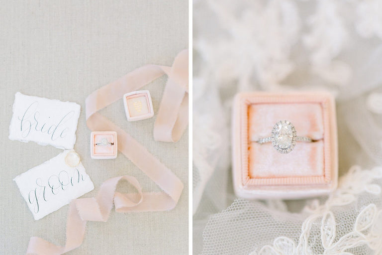 Florida Wedding Ring, Oval Diamond Engagement Ring with Halo Design and Diamond Band, Blush Pink The Mrs. Box Collection | Tampa Bay Wedding Photographers Shauna and Jordon Photography
