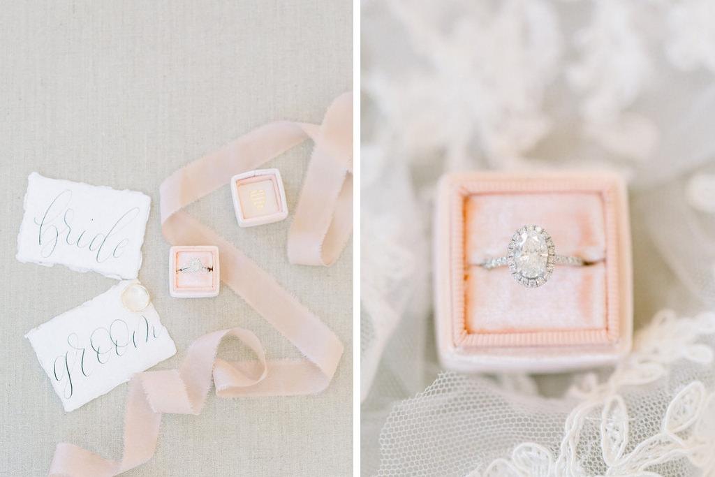 Florida Wedding Ring, Oval Diamond Engagement Ring with Halo Design and Diamond Band, Blush Pink The Mrs. Box Collection | Tampa Bay Wedding Photographers Shauna and Jordon Photography