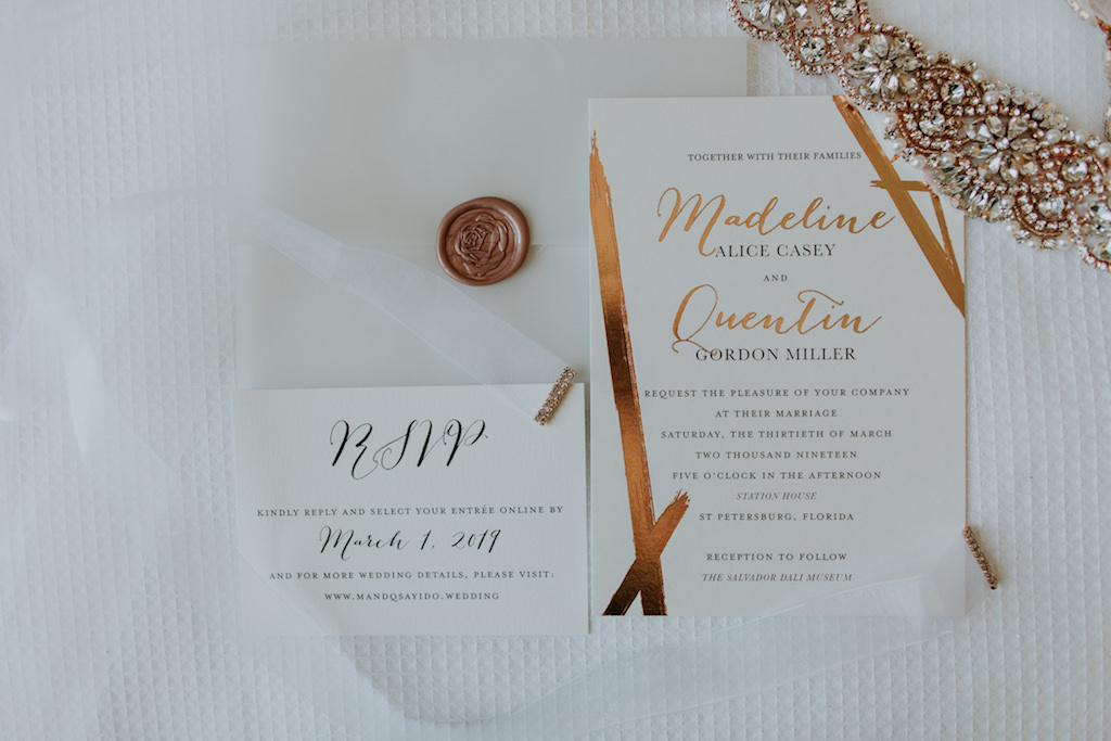 Modern Gold Foil Wedding Invitation Suite with Rose Gold Bridal Rhinestone Wedding Belt