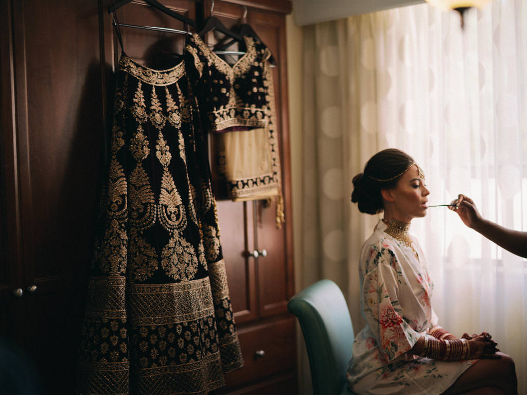 Hindu, Indian Bride Getting Ready Hair and Makeup Beauty Wedding Portrait | Tampa Bay Bridal Hair and Makeup Artist Michele Renee The Studio