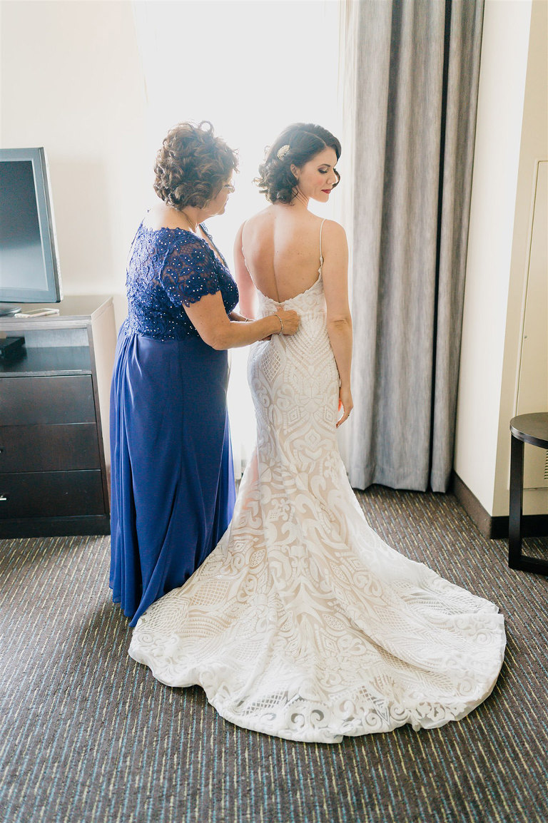 Tampa Bay Bride Getting Ready Wedding Portrait with Mom in Hayley Paige Lace Fitted Wedding Dress