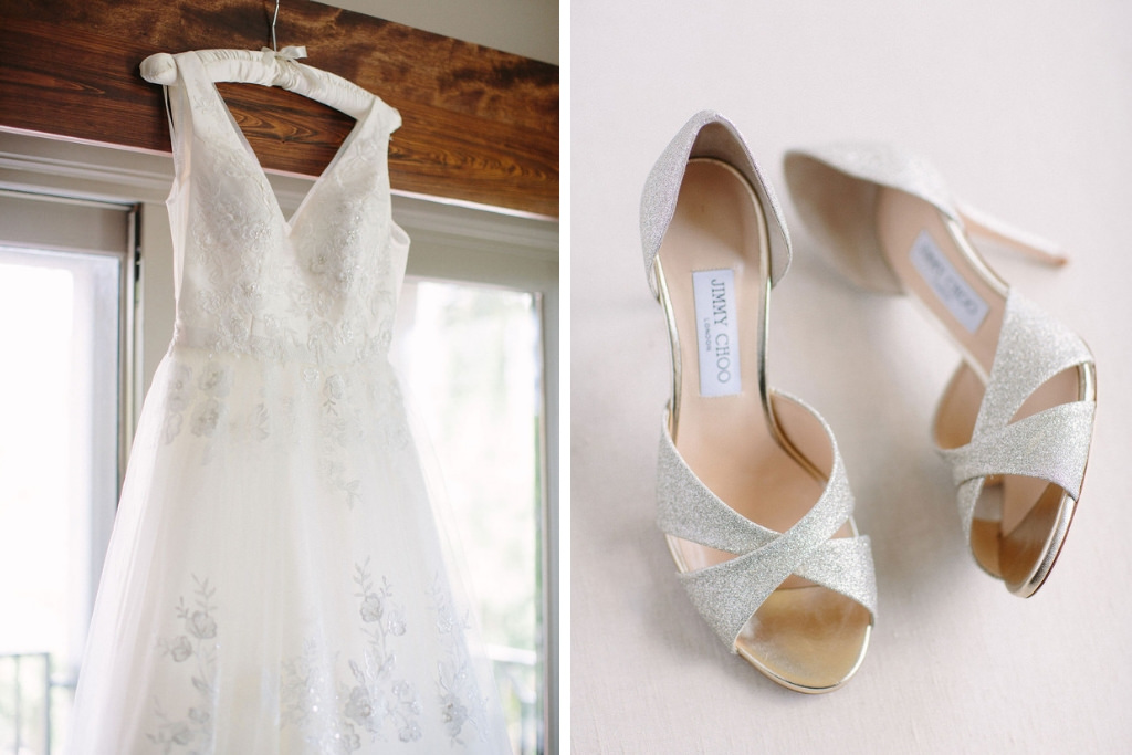 Classic Elegant Deep V Neckline with Thick Straps, Floral Lace and Tulle Skirt Wedding Dress, Silver Sparkle Glitter Jimmy Choo Peep Toe Strappy Wedding Shoes | Jimmy Choo Bridal Wedding Shoes