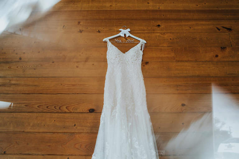 Romantic Lace and Illusion V Neckline Wedding Dress on Custom Hanger