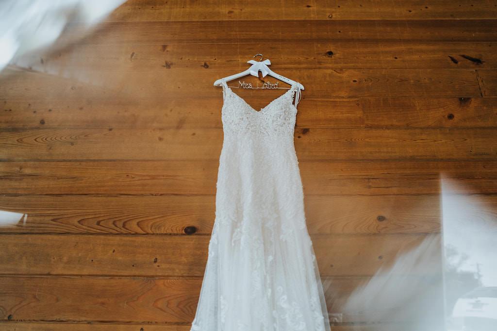 Romantic Lace and Illusion V Neckline Wedding Dress on Custom Hanger