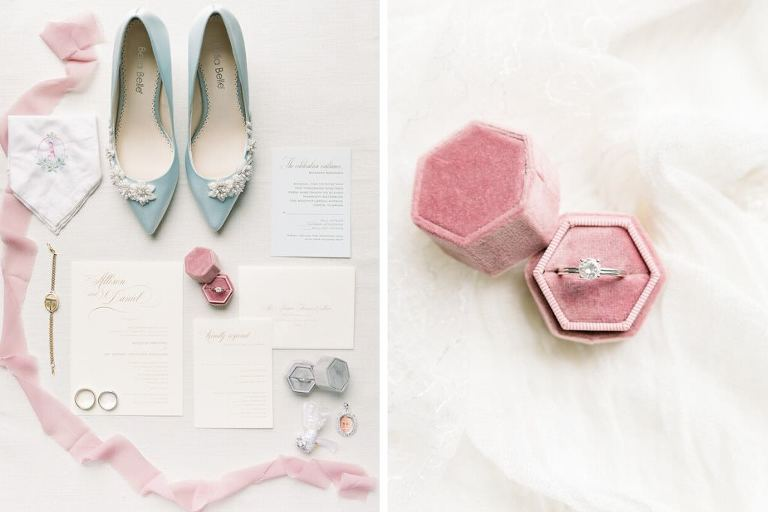 Elegant Classic Ivory and Gold Wedding Invitation Suite, Something Blue Pointed Toe Wedding Shoes with Floral Pearl Embellishment, Brides Jewelry, Round Solitaire Diamond Engagement Ring in Pink Velvet Ring Box