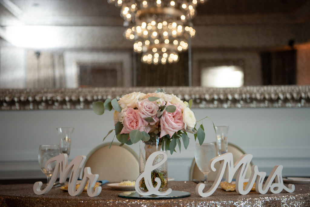 Elegant, Modern Wedding Reception Decor, Sweetheart Table with Gold Sequined Linens, Mr. and Mrs. Tabletop Decor, Blush Pink Roses, Ivory Florals in Modern Ballroom at Boutique St. Pete Hotel The Birchwood   Tampa Bay Wedding Planner Coastal Coordinating