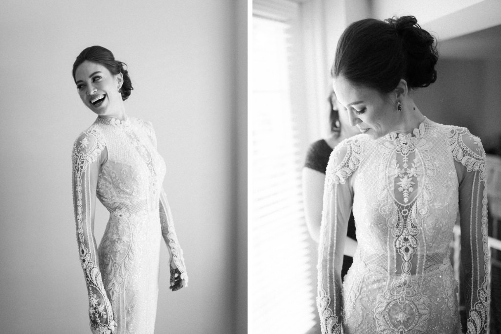 Florida Indian Bride in Fitted High Neck Long Sleeve Lace and Illusion Elegant Classic Wedding Dress | South Tampa Couture Wedding Dress Boutique Isabel O'Neil Bridal Collection | Galia Lahav Couture Wedding Dress | Tampa Bay Bridal Hair and Makeup Artist Michele Renee The Studio