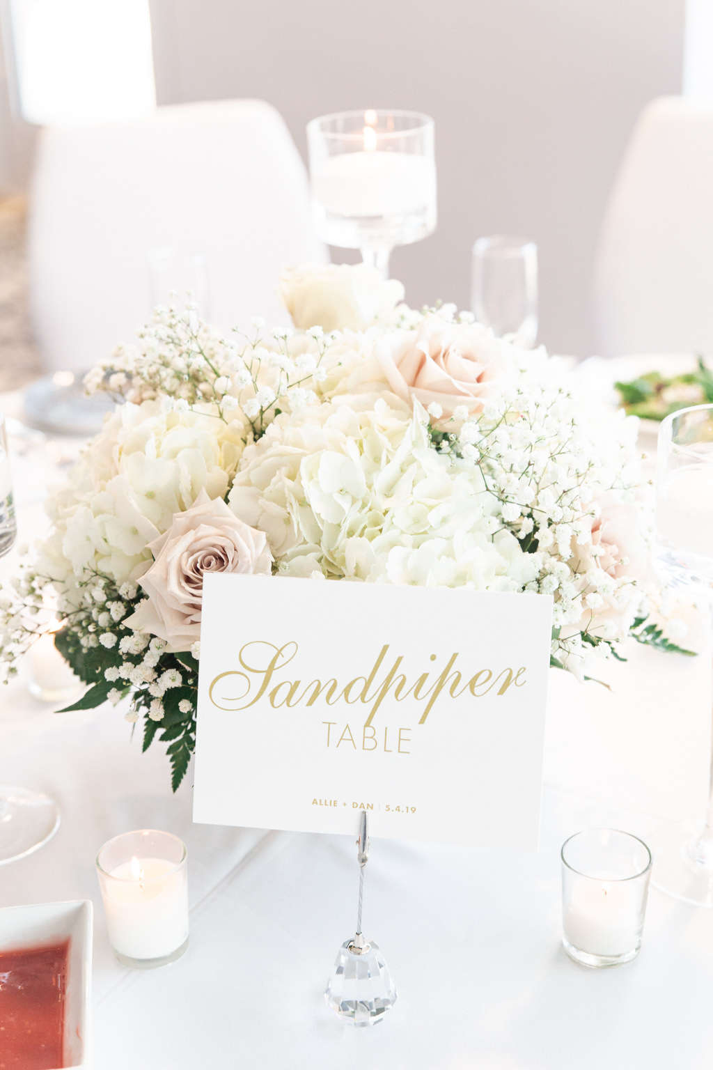 Classic Elegant Wedding Reception Decor, White Hydrangeas, Blush Pink Roses, Baby's Breath and Greenery Low Floral Centerpiece, White and Gold Font Custom Table Name Sign