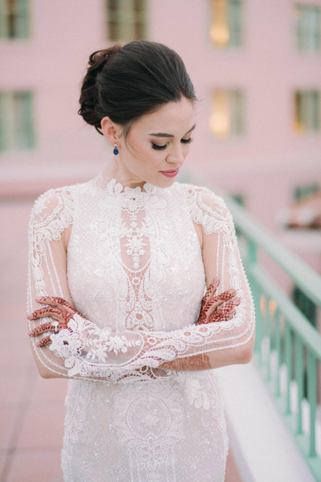 Florida Indian Bride Beauty Wedding Portrait in Floral Lace and Illusion Fitted High Neckline Long Sleeve Wedding Dress and Updo | South Tampa Couture Wedding Dress Boutique Isabel O'Neil Bridal Collection | Galia Lahav Couture Wedding Dress | Tampa Bay Bridal Hair and Makeup Artist Michele Renee The Studio