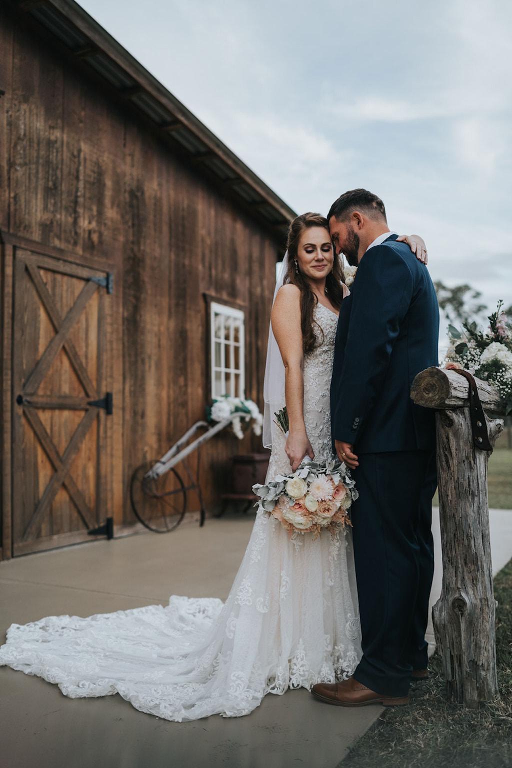 Romantic Bride and Groom Outdoor Wedding Portrait   Tampa Rustic Wedding Barn Venue Rafter J Ranch