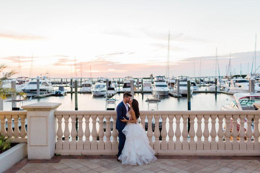 Romantic Sunset Bride and Groom Waterfront Yacht Club Wedding Portrait | Tampa Bay Wedding Venue Westshore Yacht Club