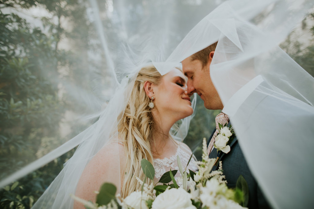 Romantic Creative, Unique Bride and Groom Under Veil Wedding Portrait