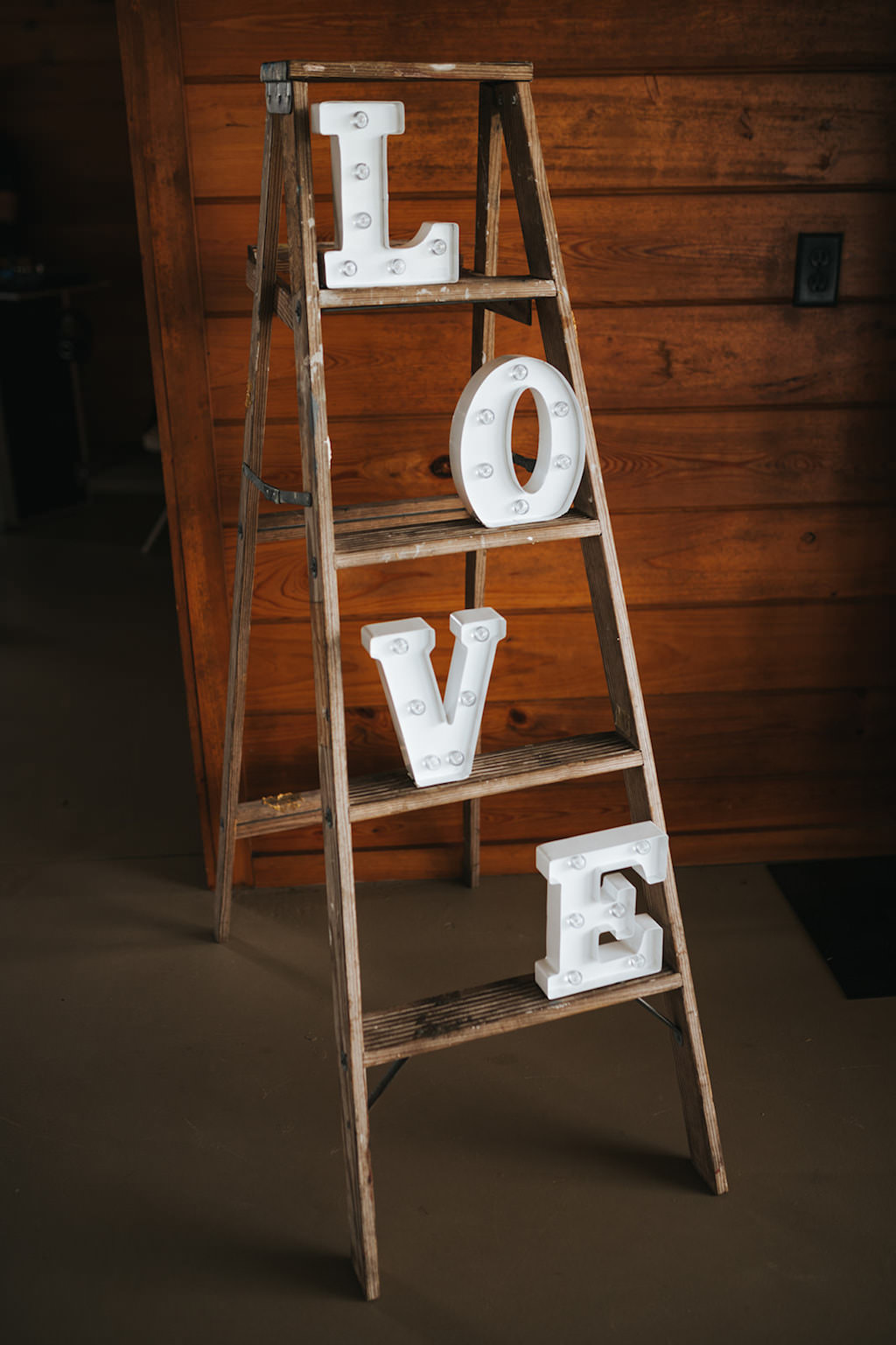 Rustic Chic Wedding Reception Decor, Wooden Ladder with White Marquee LOVE Letters   Wedding Planner Kelly Kennedy Weddings and Events