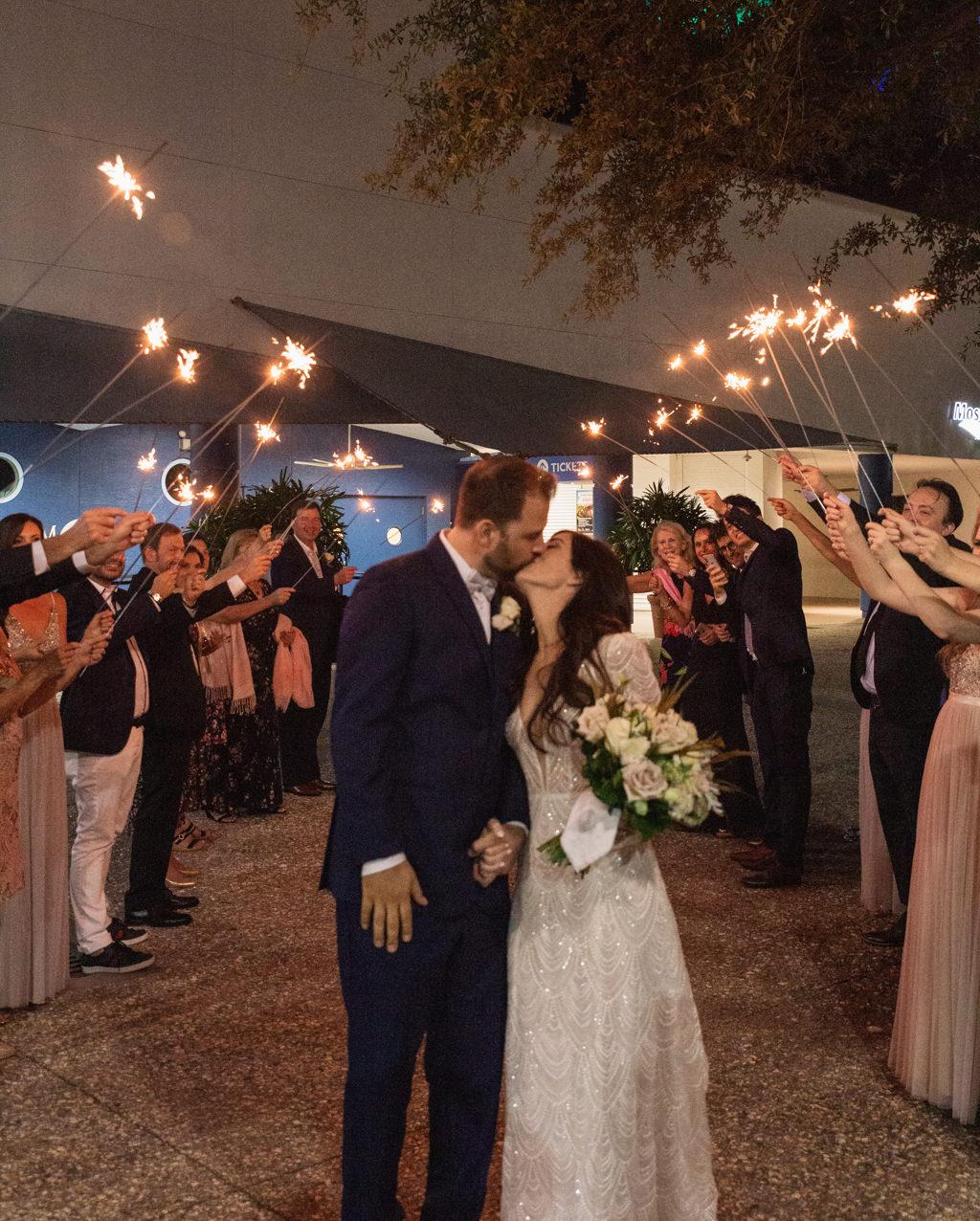 Romantic Bride and Groom Wedding Reception Sparkler Exit Nighttime Portrait