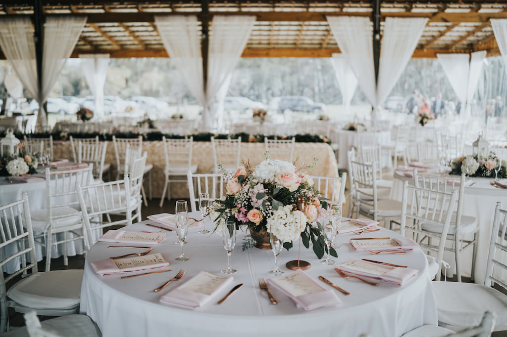 INSTAGRAM Rustic Chic Wedding Reception Decor, Round Tables with White Tablecloth, Blush Pink Linen Napkins, White Hydrangeas, Blush Pink Roses, Greenery Floral Low Centerpiece   Tampa Wedding Planner Kelly Kennedy Weddings and Events