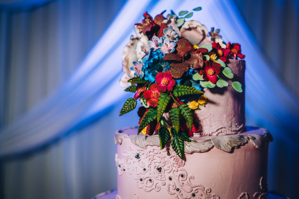 Unique Creative Wedding Cake with Floral Icing Accents, Red, Green, Blue, Purple Sugar Flower Cake Topper | Tampa Bay Wedding Baker Alessi Bakery