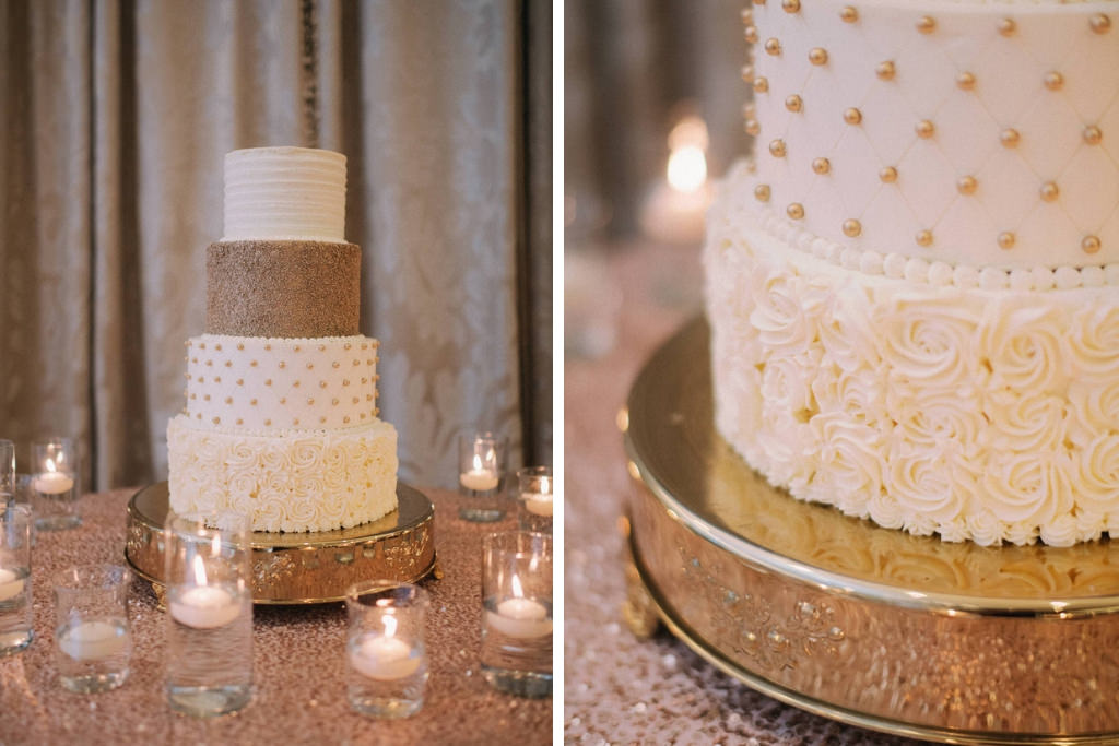 Elegant and Classic Four Tier White and Gold Wedding Cake, Bottom Tier with White Frosted Icing Roses, Gold Beaded and Quilted Tier on Gold Cake Stand | Tiered Wedding Cake by The Vinoy Renaissance