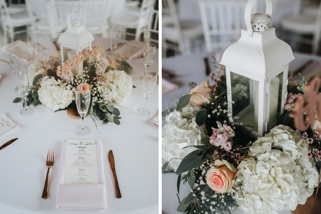 Rustic Chic Wedding Reception Decor, White Hydrangeas, Blush Pink Roses, Babys Breathe, and Greenery Flowers and White Lantern Centerpiece, Blush Pink Linen Napkin, Rose Gold Silverware   Tampa Wedding Planner Kelly Kennedy Weddings and Events