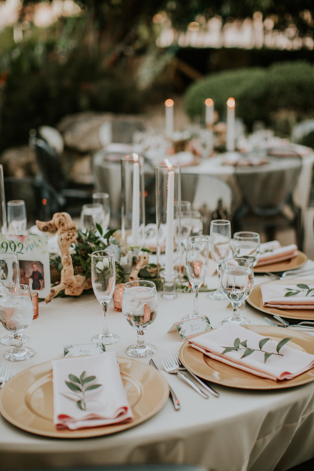Romantic Modern Wedding Reception Decor, Round Tables with Ivory Linens, Gold Chargers with Pink Napkins | Tampa Bay Wedding Planner UNIQUE Weddings + Events | Wedding Rentals A Chair Affair | Wedding Linens Over the Top Rental Linens