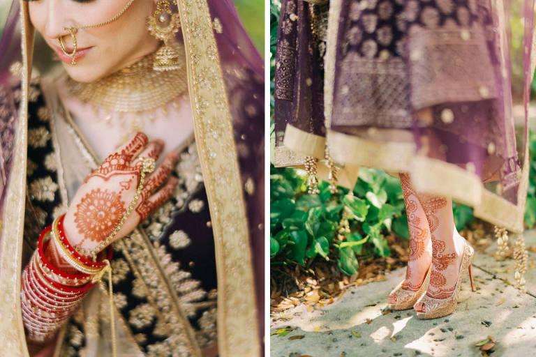 Tampa Traditional Hindu, Indian Colorful Bride, Beauty Wedding Portrait, Extravagant Gold Bridal Jewelry, Bridal Mehndi Henna Tattoo, Purple and Gold with Rhinestones Indian Bridal Veil, Gold Embellished Peep Toe Heel Wedding Shoes, Custom Purple Velvet Lehenga