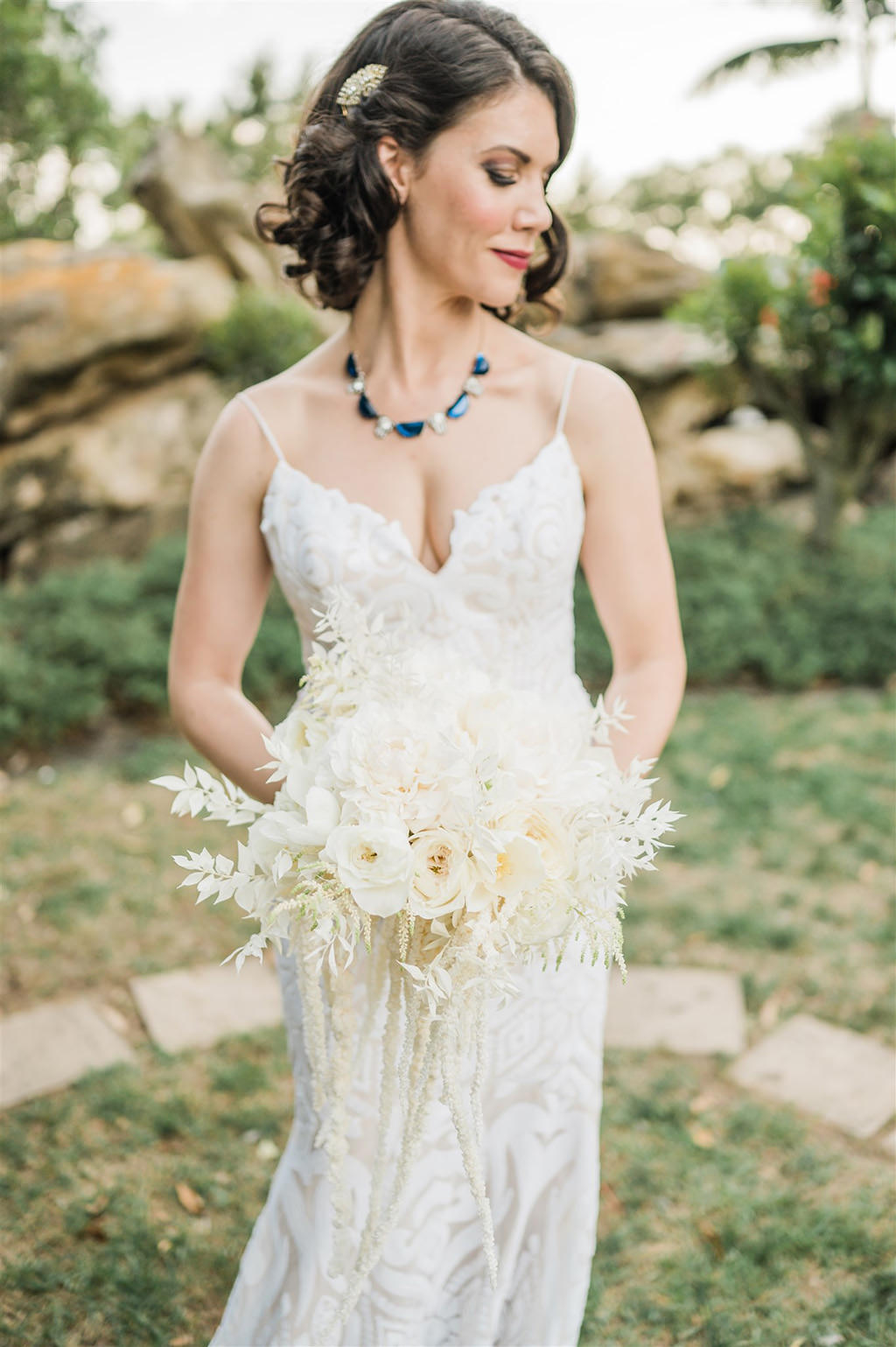 Florida Bride Beauty Wedding Portrait in Lace V Neckline Lace with Spaghetti Straps Fitted Hayley Paige Wedding Dress Holding All White Whimsy Floral Bouquet | Tampa Wedding Planner and Florist John Campbell Weddings
