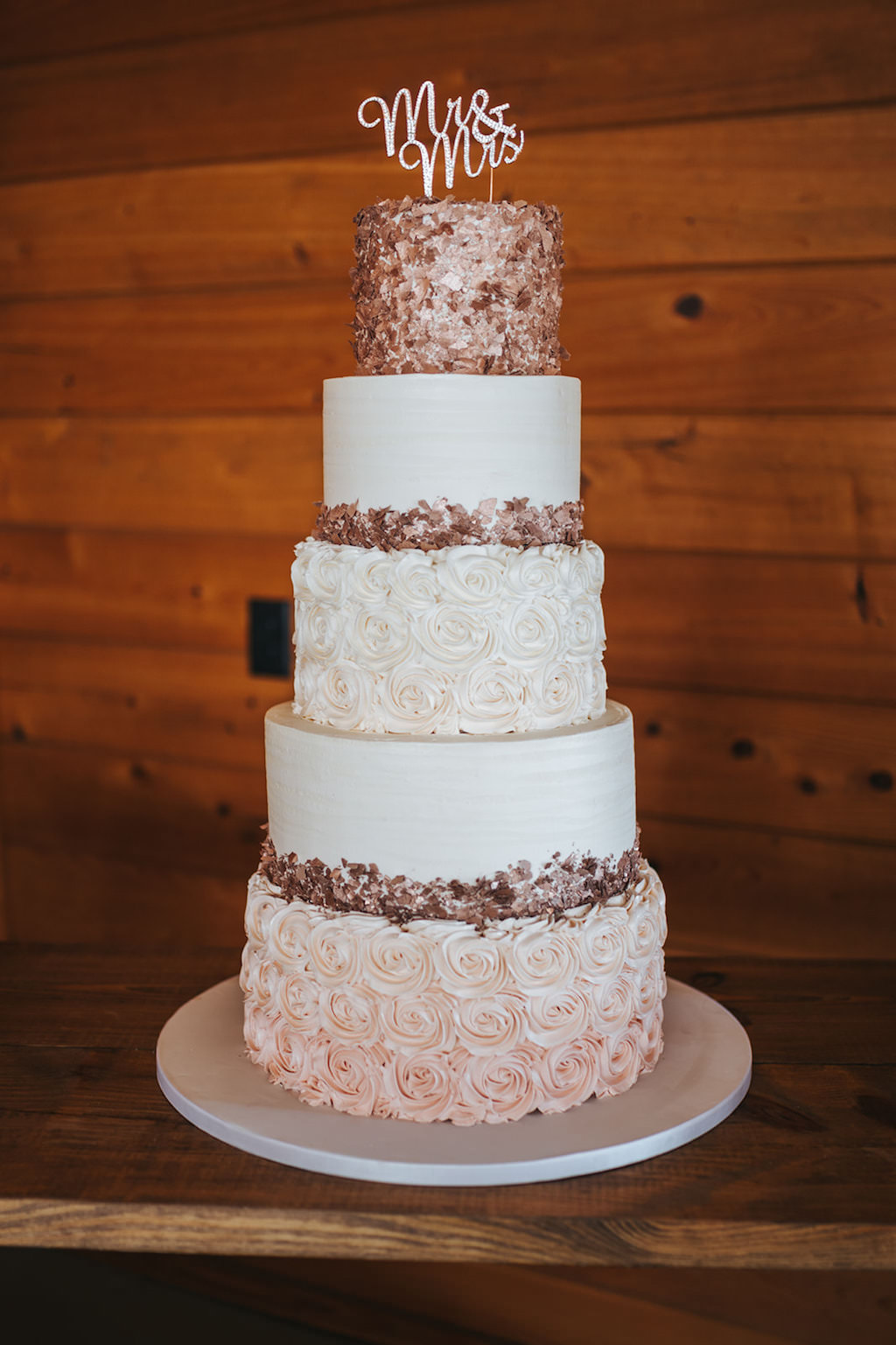Elegant Five Tier White and Blush Pink Ombre Rose Frosted and Dark Pink Sparkle Embellished Wedding Cake with Custom Cake Topper   Tampa Wedding Planner Kelly Kennedy Weddings and Events