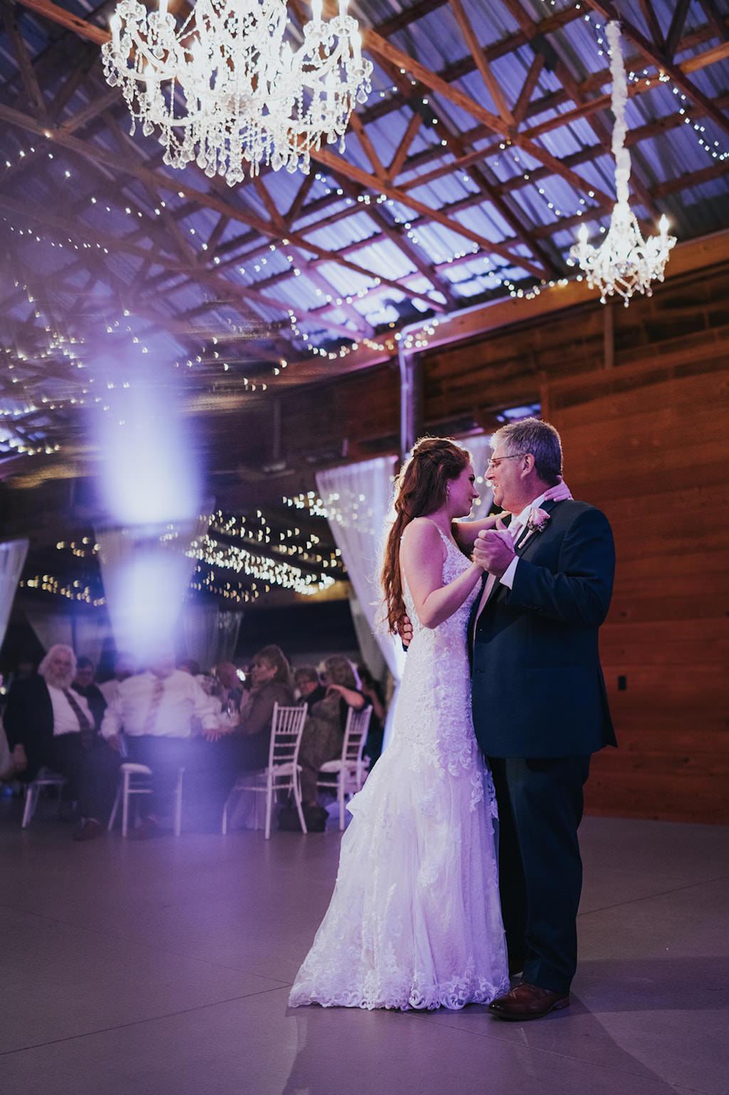 Florida Bride and Father Dance Wedding Barn Reception Portrait Under Crystal Chandeliers   Tampa Bay Wedding Venue Rafter J Ranch