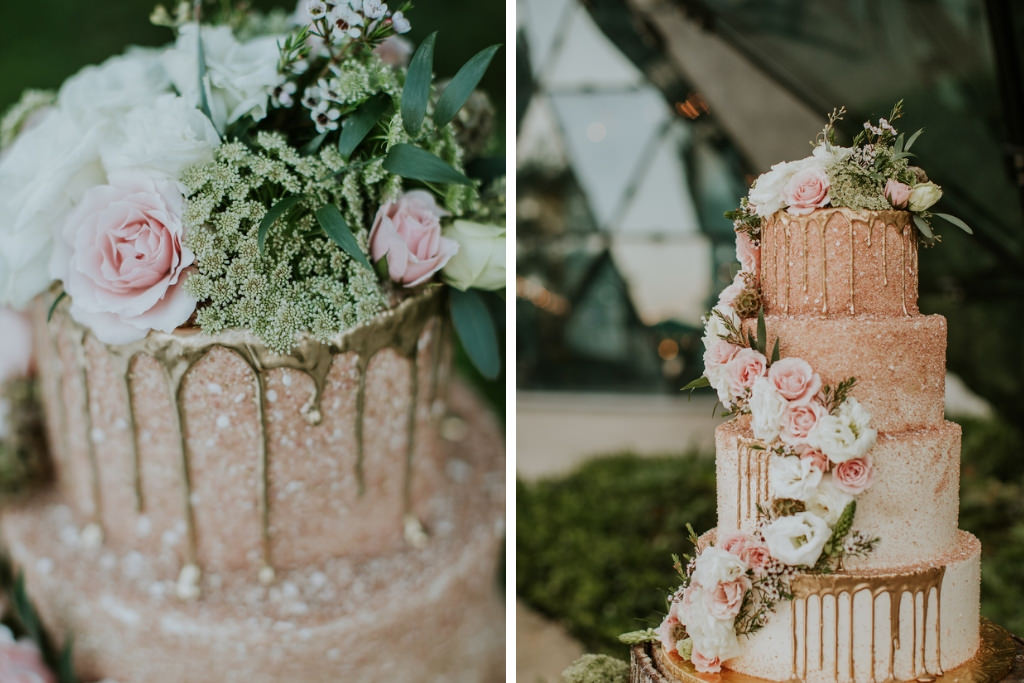 Unique Whimsical Garden Inspired White, Blush Pink and Gold Ombre Tiered Wedding Cake with Gold Drip Accent, Cascading Blush Pink and White Florals on Natural Edged Tree Round Cake Stand with Moss | St Pete Wedding Cake Bakery The Artistic Whisk | Tampa Bay Wedding Planner UNIQUE Weddings + Events