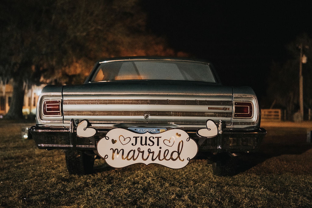 Vintage Car with Custom Wooden Just Married Sign
