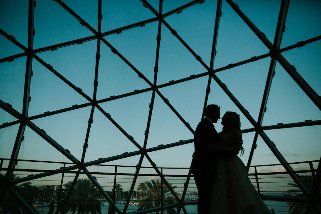 Artistic Tampa Bride and Groom Silhouette Wedding Portrait | Downtown St. Pete Wedding Venue Salvador Dali Museum