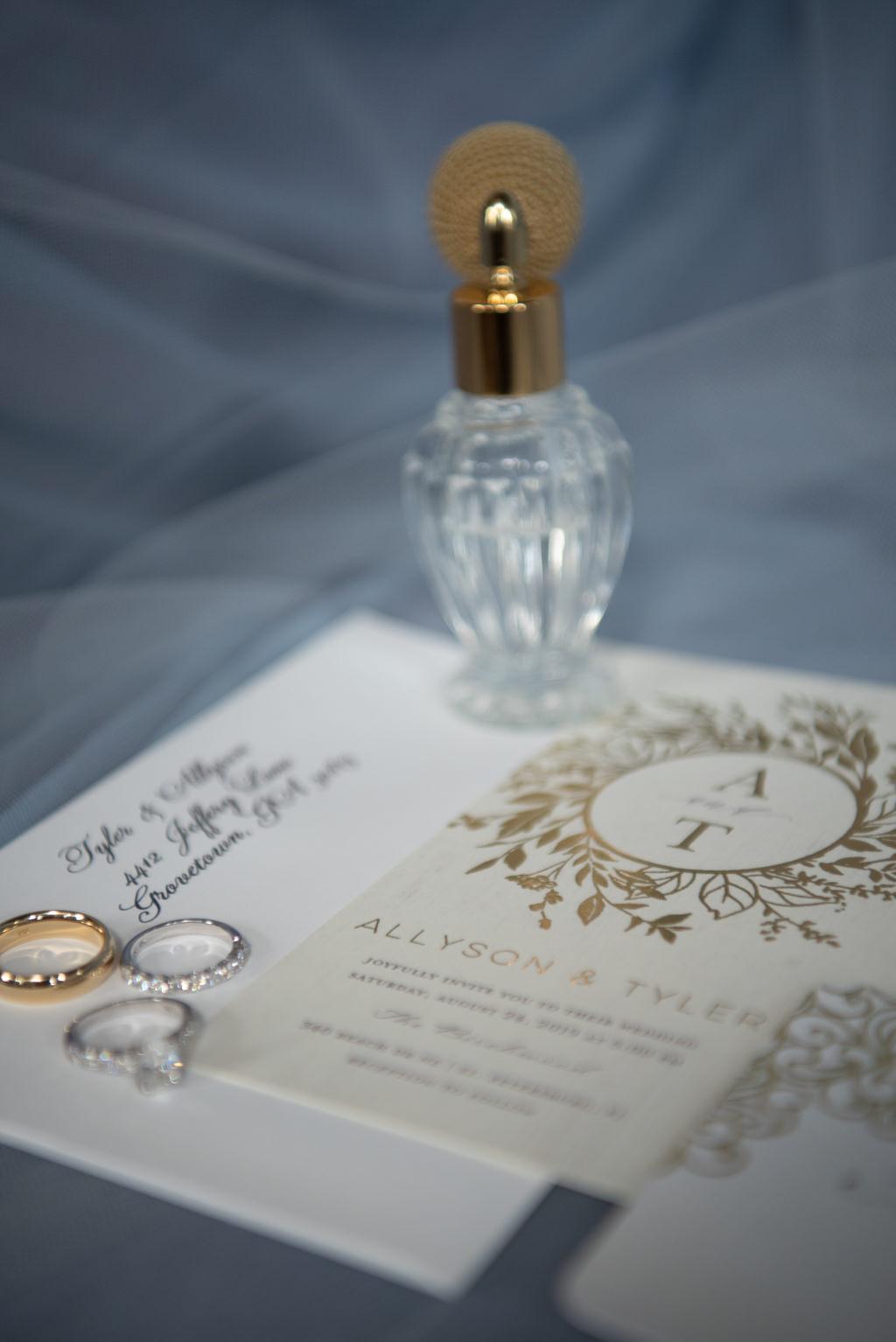 Elegant Wedding Details, Gold Foil Wedding Invitation with Engagement Rings