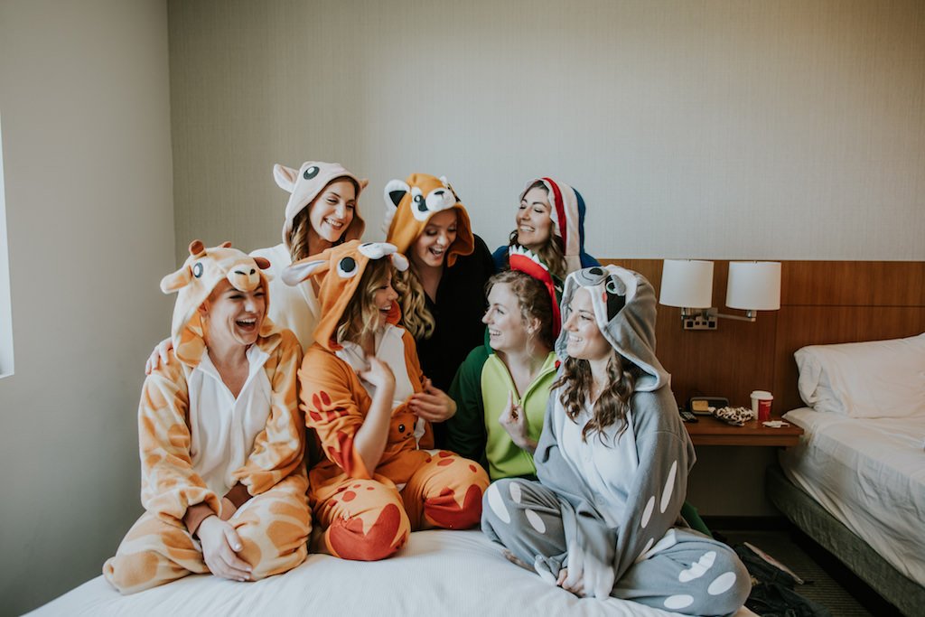Tampa Bay Bride and Bridesmaids in Fun Animal Themed Rompers Bridal Party Getting Ready Wedding Portrait