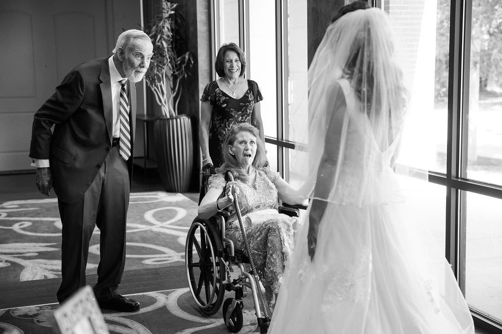 Emotional Tampa Bay Bride with Grandparents Wedding First Look Portrait