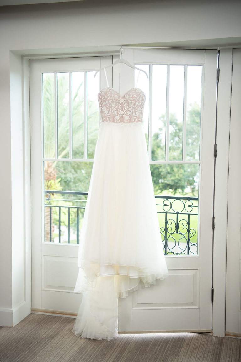 Romantic, White Strapless A-Line Sweetheart Wedding Dress by Designer Justin Alexander, Detailed Fitted Floral Embellished Bodice with Tulle Skirt | St. Pete Boutique Hotel and Modern Wedding Venue The Birchwood