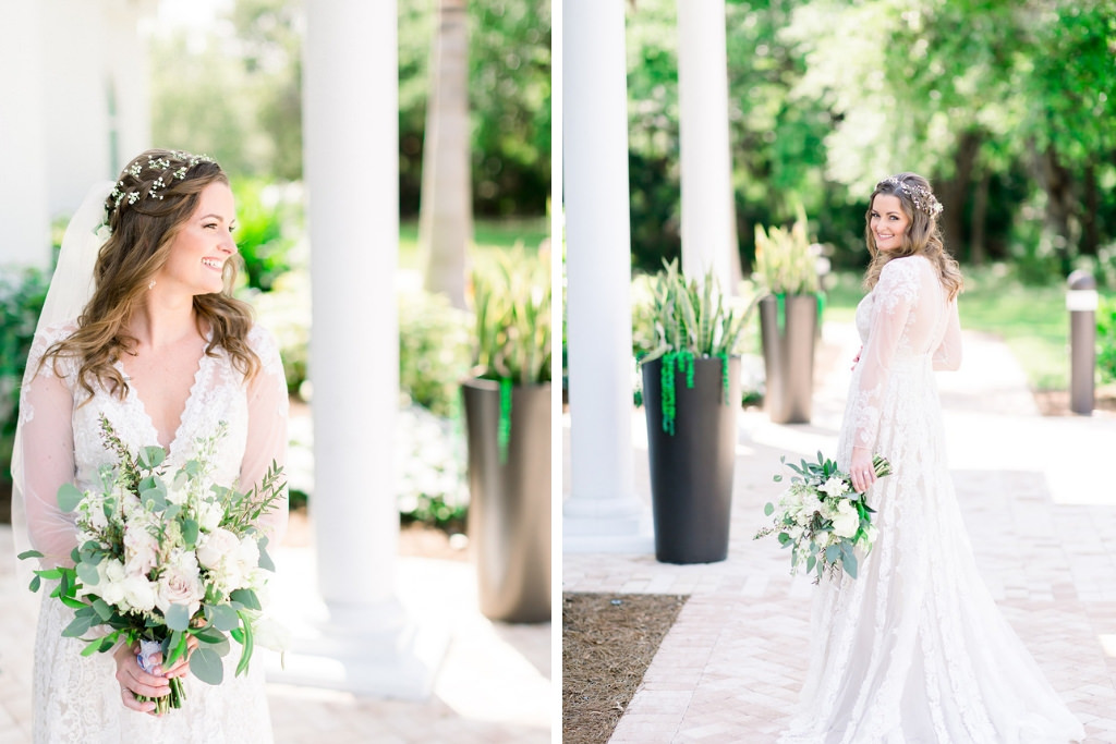 Florida Boho Inspired Bridal Portrait, Wearing White Lace A-Line Wedding Dress with Illusion Lace Sleeves By Melissa Sweet Bridal, Wearing Baby's Breath Floral Hair Accessory with Veil, Holding Lush White and Blush Pink Floral Bouquet with Greenery | Clearwater Wedding Hair and Makeup Artist Femme Akoi Beauty Studio | Tampa Bay Wedding Photographers Shauna and Jordon Photography